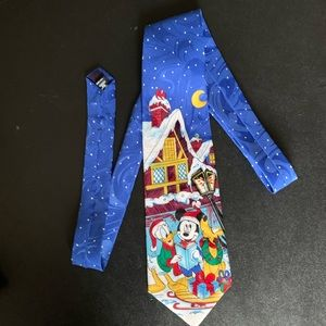 vintage mickey mouse christmas winter holidays tie